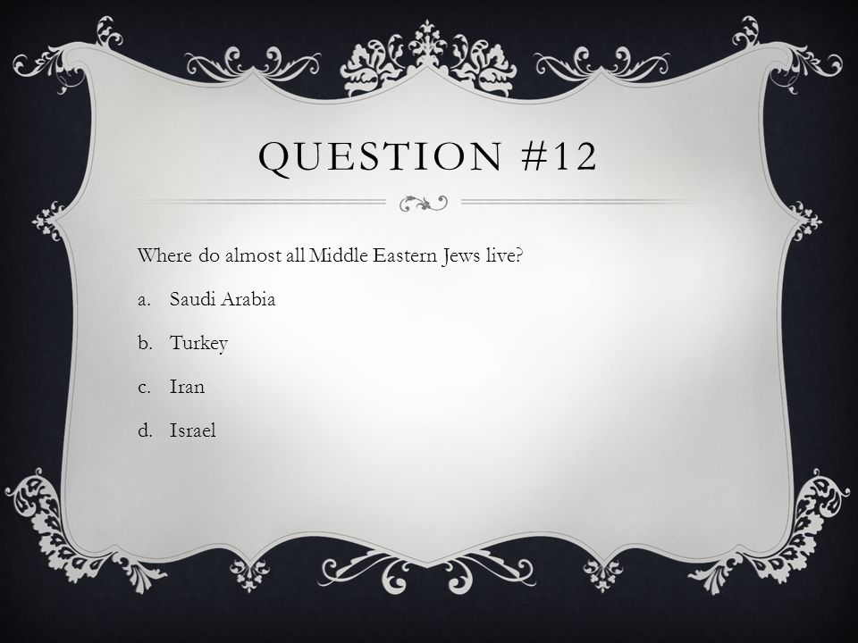 Question #12 Where do almost all Middle Eastern Jews live