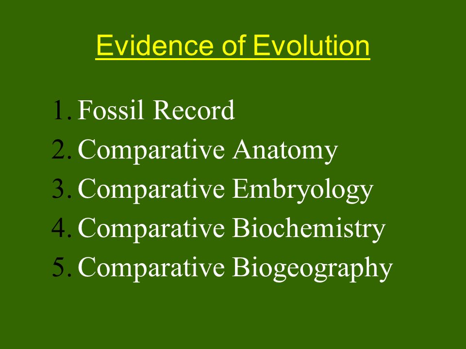 Evidence of EvolutionFossil Record. Comparative Anatomy. Comparative Embryology. Comparative Biochemistry.