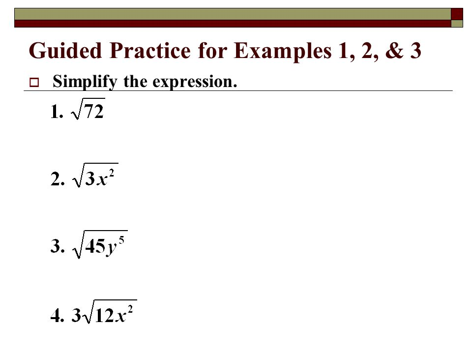 Guided Practice for Examples 1, 2, & 3