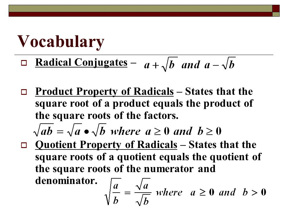 Vocabulary Radical Conjugates –