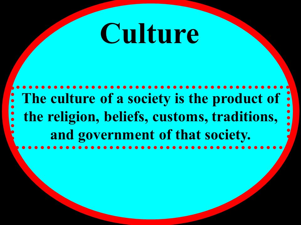 Culture The culture of a society is the product of the religion, beliefs, customs, traditions, and government of that society.