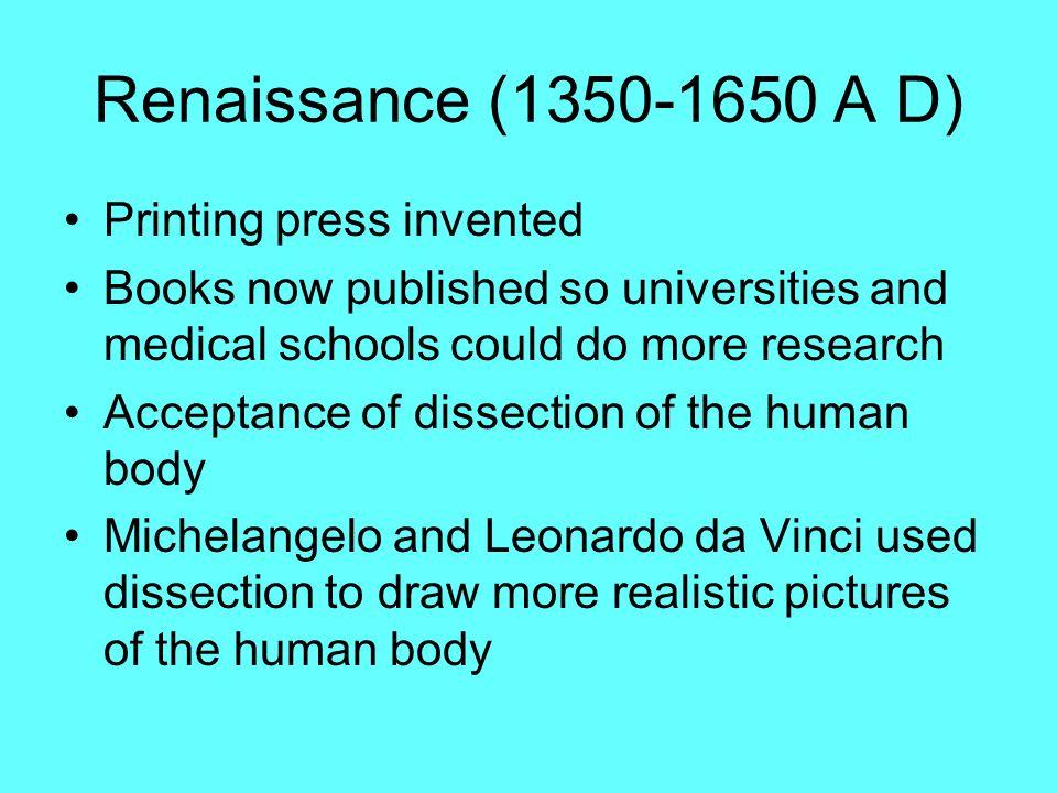 Renaissance (1350-1650 A D) Printing press invented