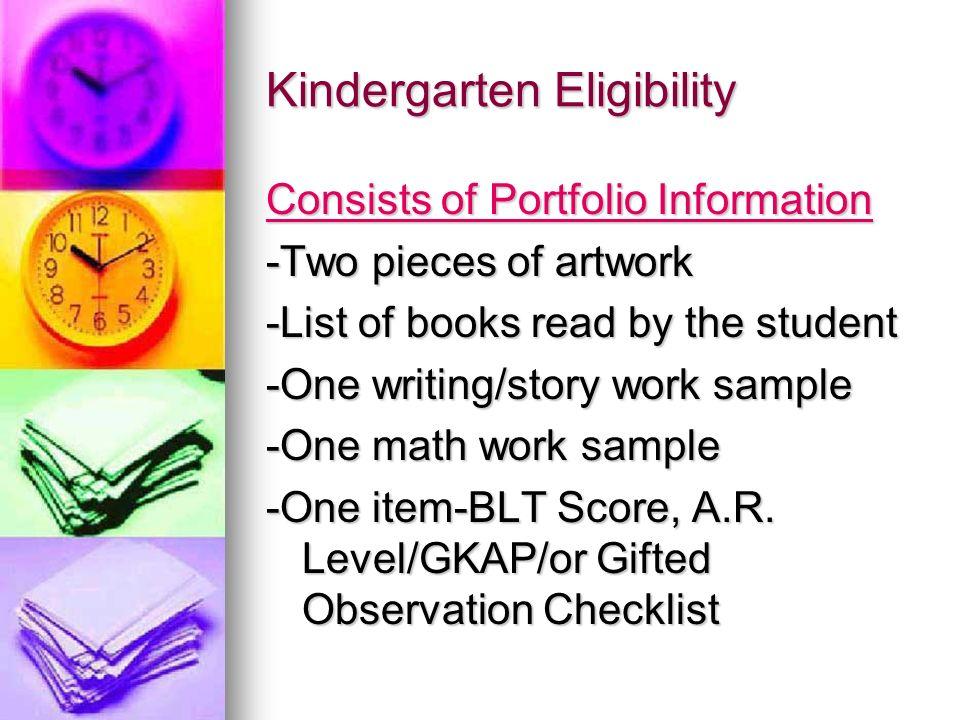 Kindergarten Eligibility