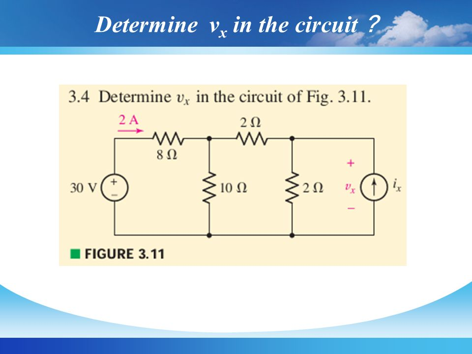 Determine vx in the circuit