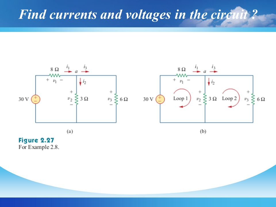 Find currents and voltages in the circuit