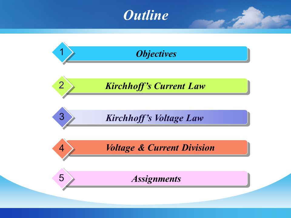 Kirchhoff's Current Law Kirchhoff's Voltage Law