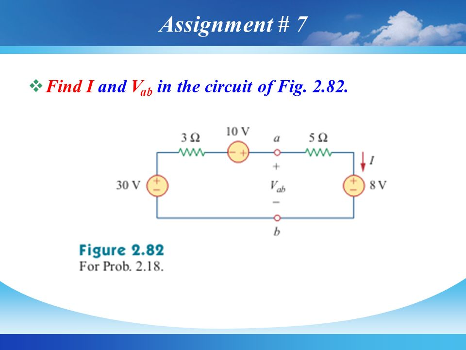 Assignment # 7 Find I and Vab in the circuit of Fig