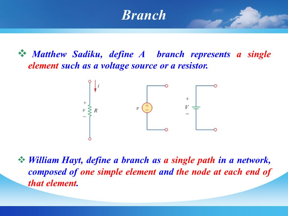 Branch Matthew Sadiku, define A branch represents a single element such as a voltage source or a resistor.