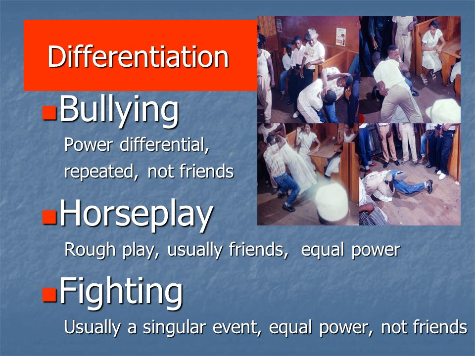 Bullying Horseplay Fighting Differentiation Power differential,