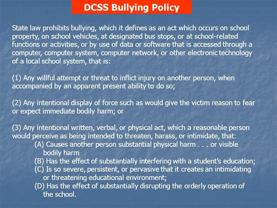 DCSS Bullying Policy