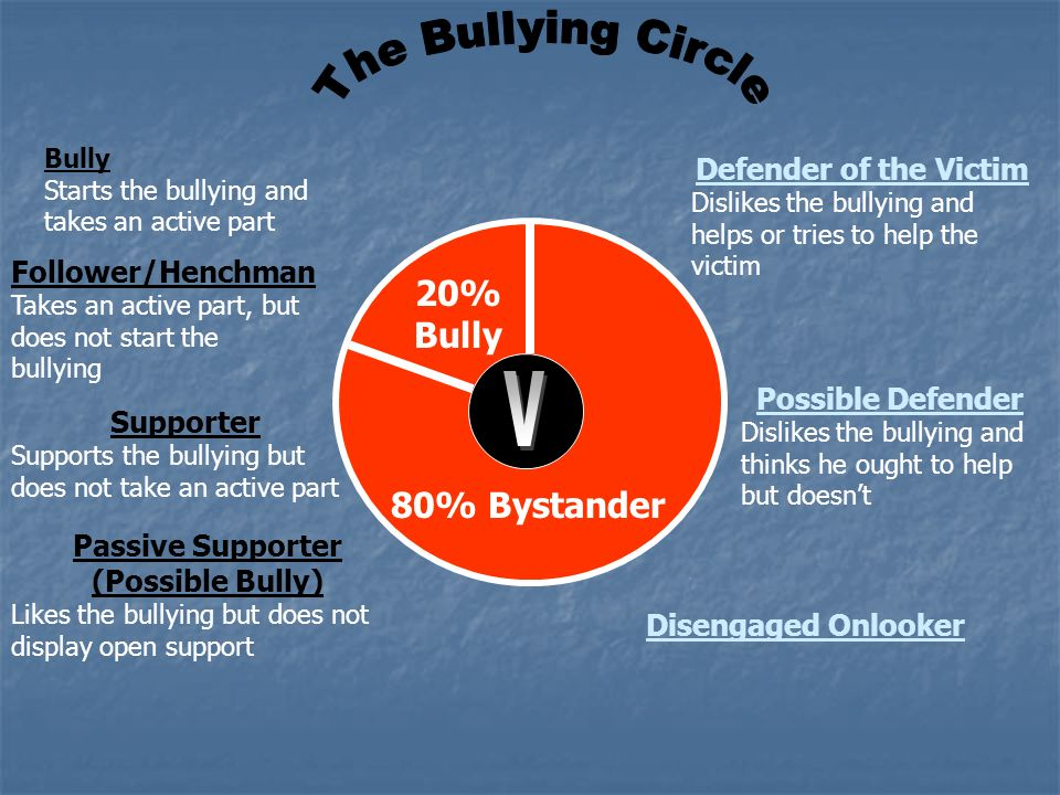 The Bullying Circle V 20% Bully 80% Bystander Defender of the Victim