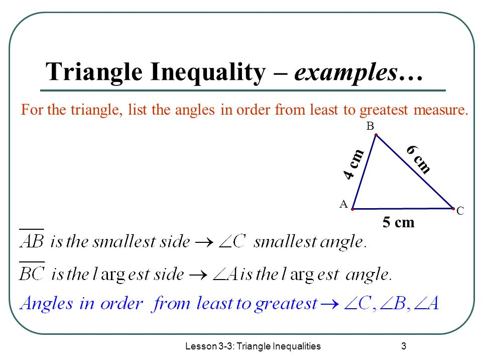 Triangle Inequality – examples…