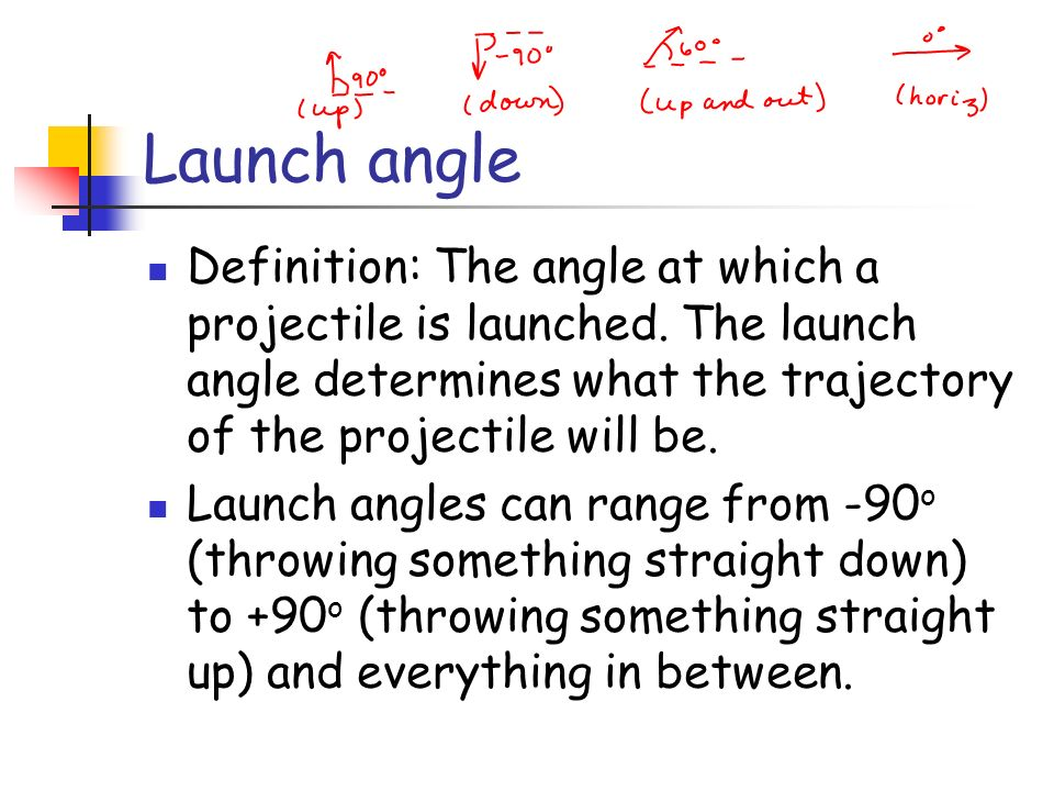 Launch angle Definition: The angle at which a projectile is launched. The launch angle determines what the trajectory of the projectile will be.