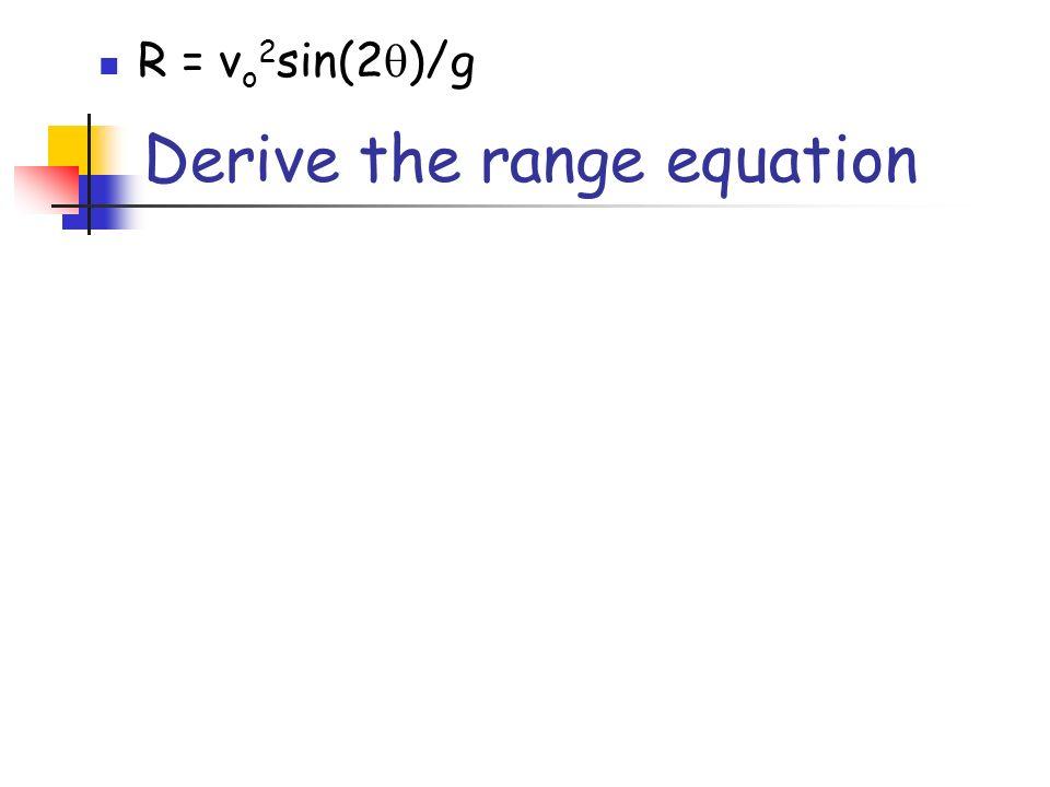 Derive the range equation