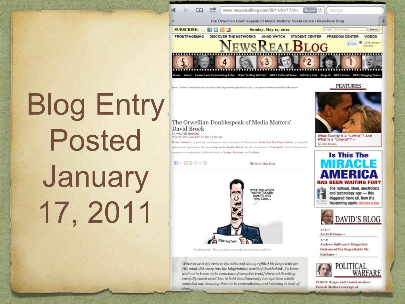 Blog Entry Posted January 17, 2011
