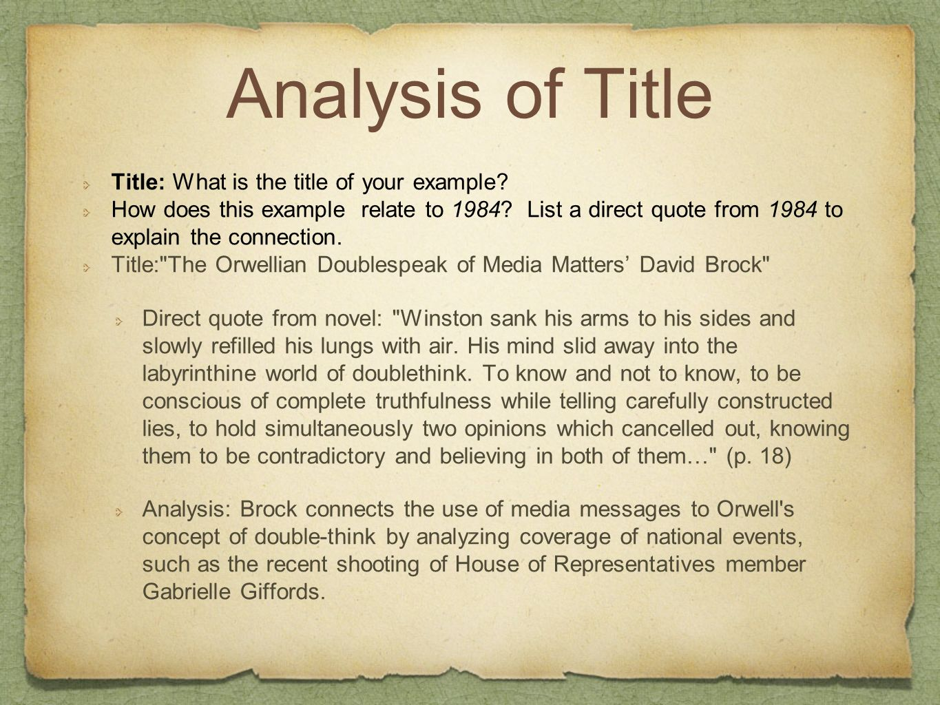 Analysis of Title Title: What is the title of your example