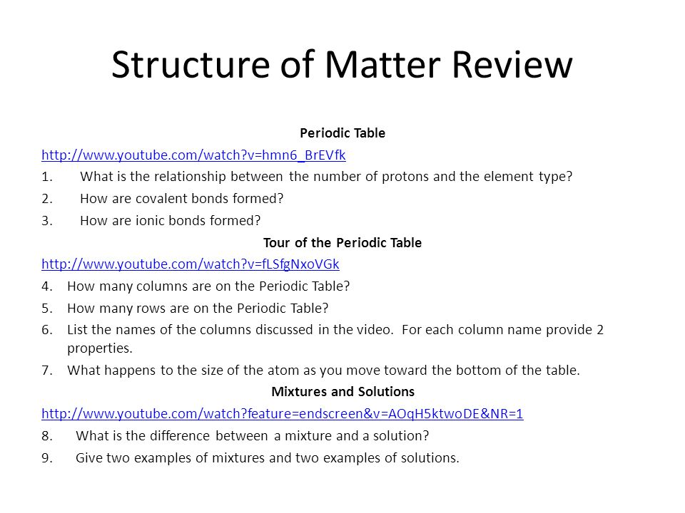 Structure of Matter Review