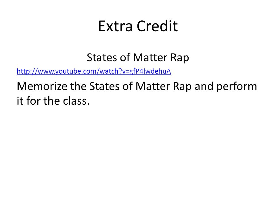 Extra Credit States of Matter Rap