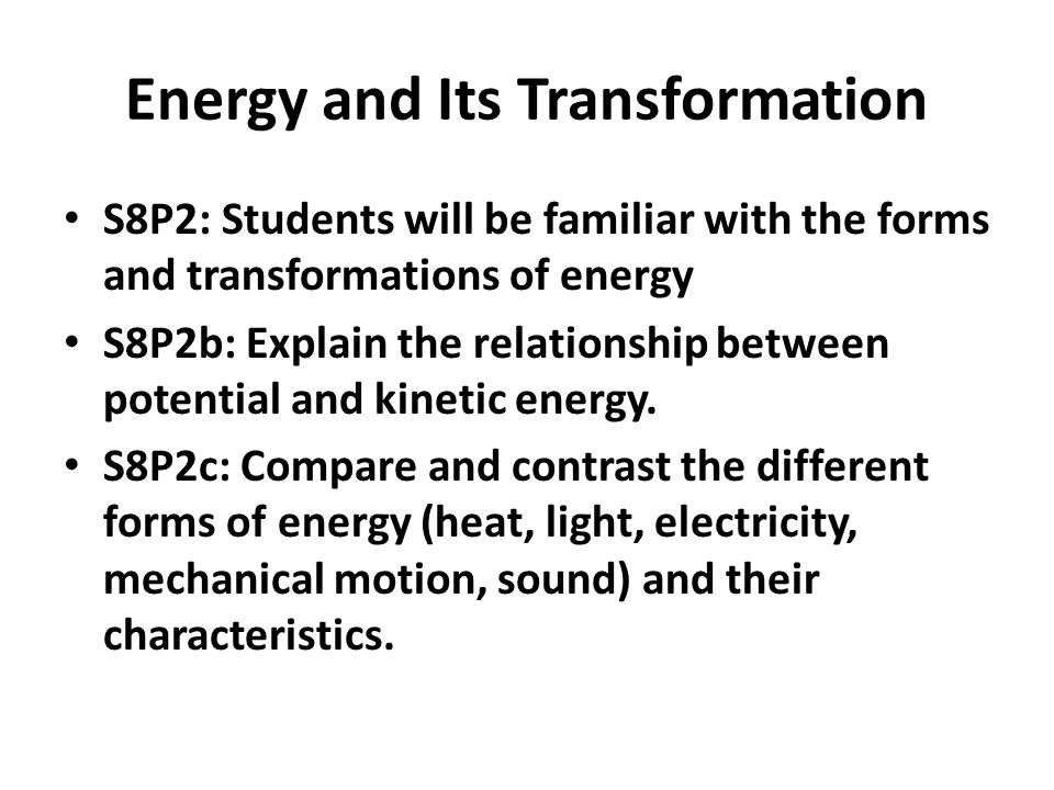 Energy and Its Transformation