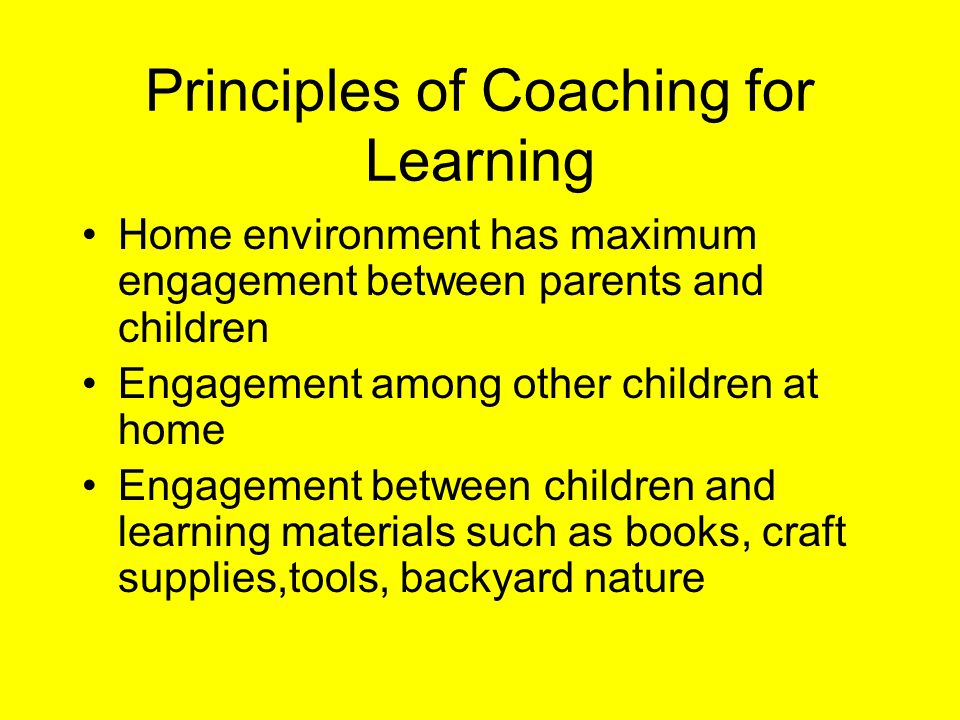 Principles of Coaching for Learning