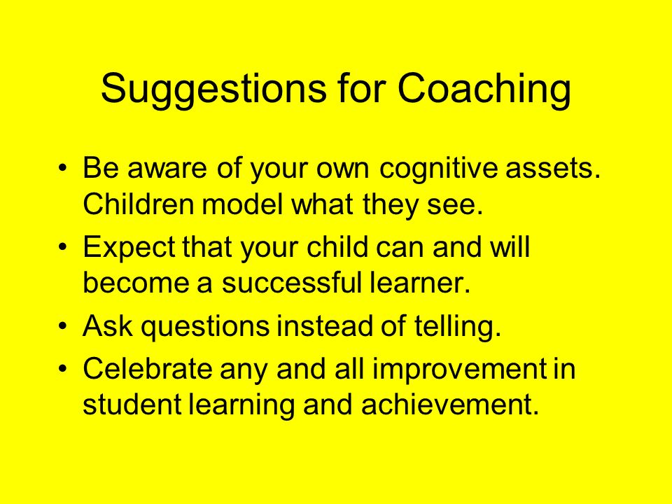 Suggestions for Coaching