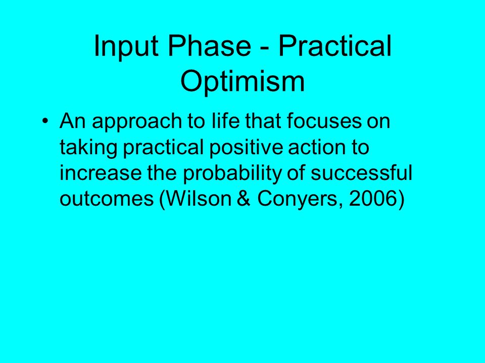Input Phase - Practical Optimism