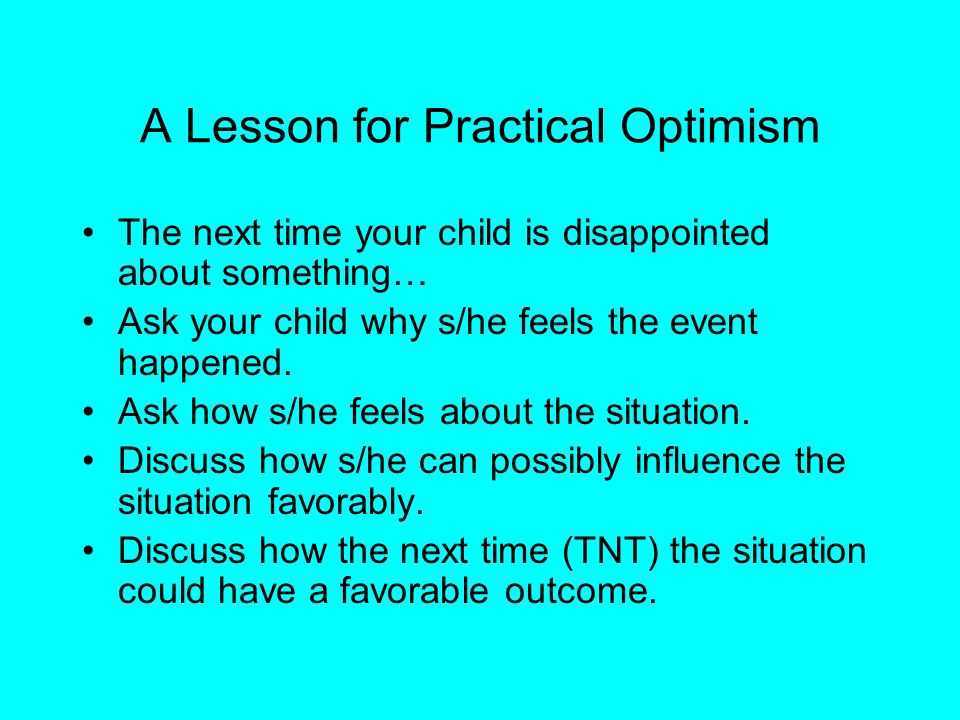 A Lesson for Practical Optimism