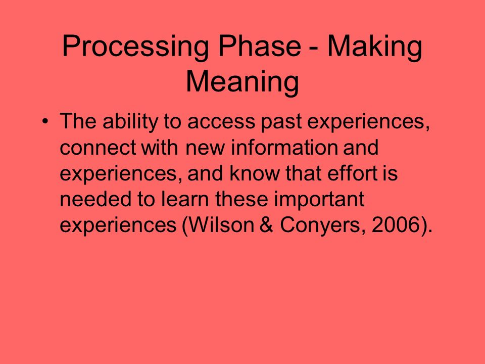 Processing Phase - Making Meaning