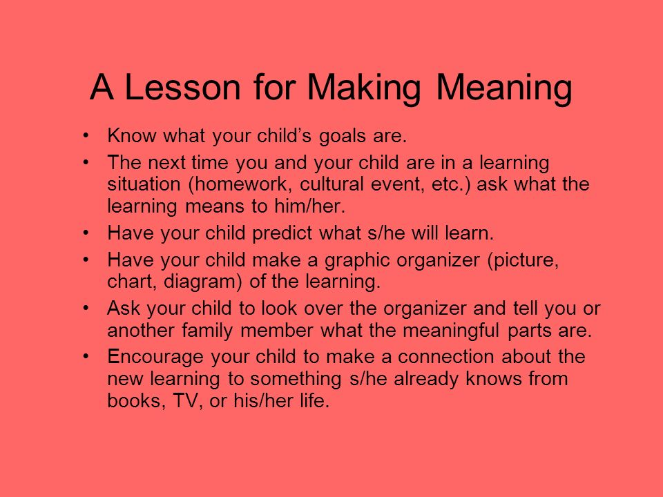 A Lesson for Making Meaning