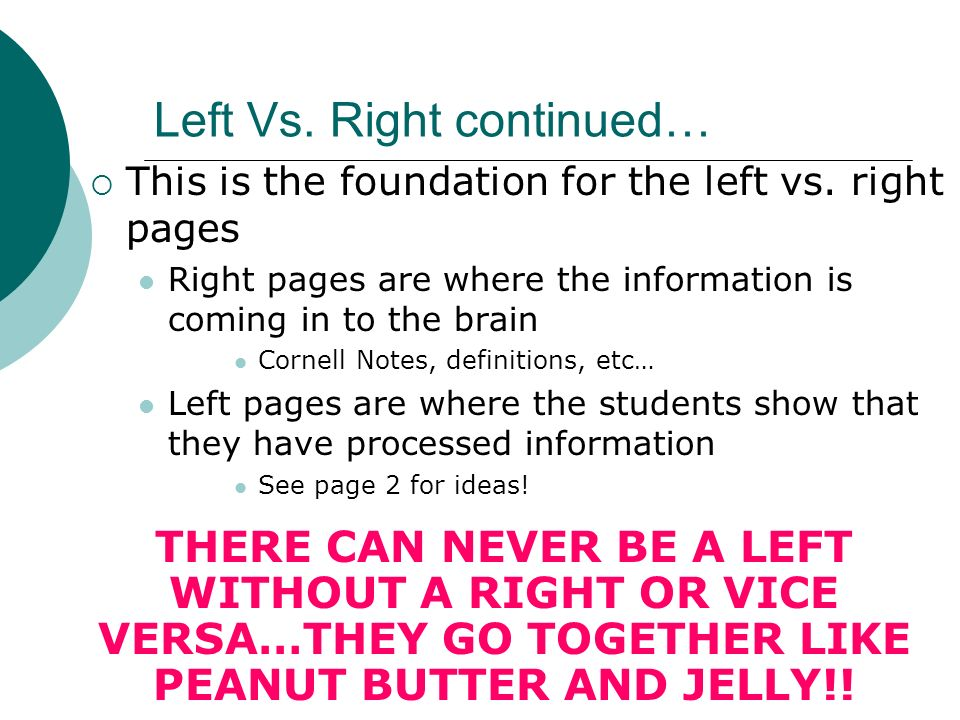 Left Vs. Right continued…