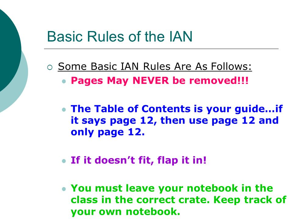 Basic Rules of the IAN Some Basic IAN Rules Are As Follows: