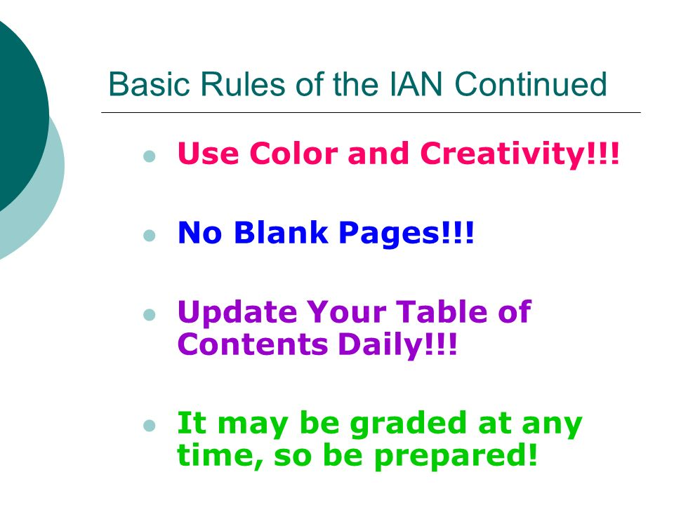 Basic Rules of the IAN Continued