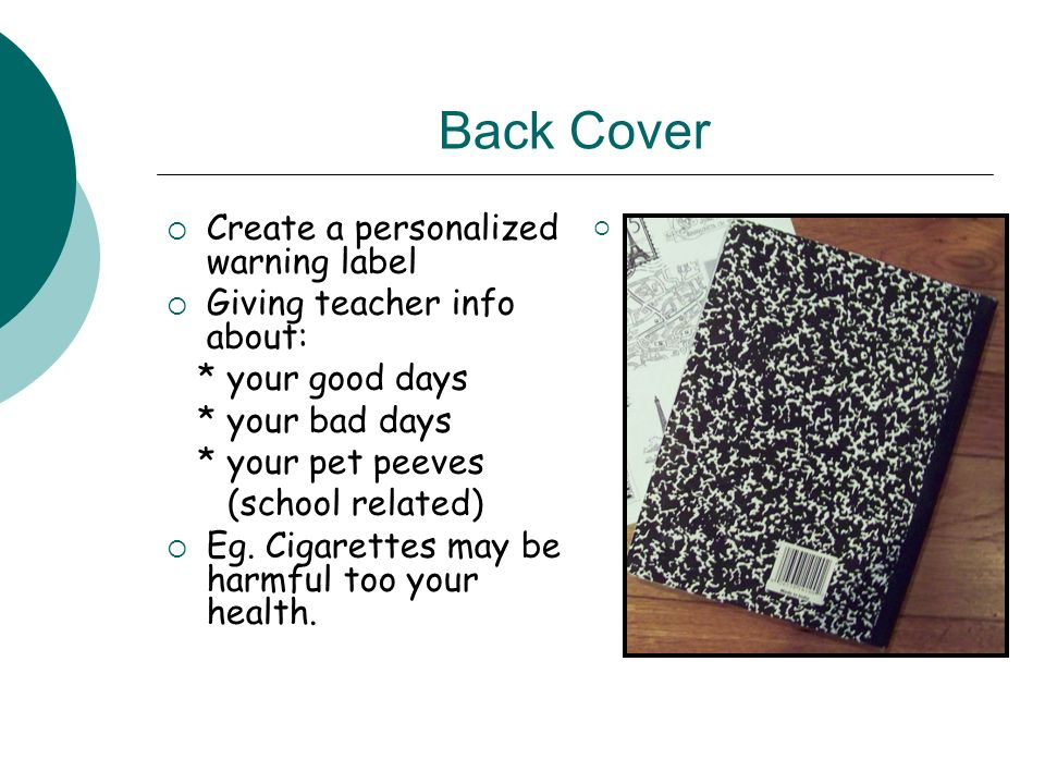 Back Cover Create a personalized warning label