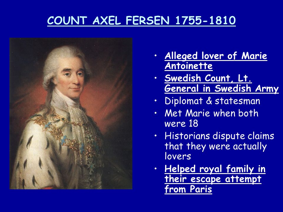 COUNT AXEL FERSEN 1755-1810 Alleged lover of Marie Antoinette