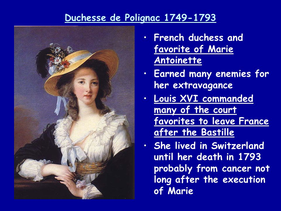Duchesse de Polignac 1749-1793 French duchess and favorite of Marie Antoinette. Earned many enemies for her extravagance.