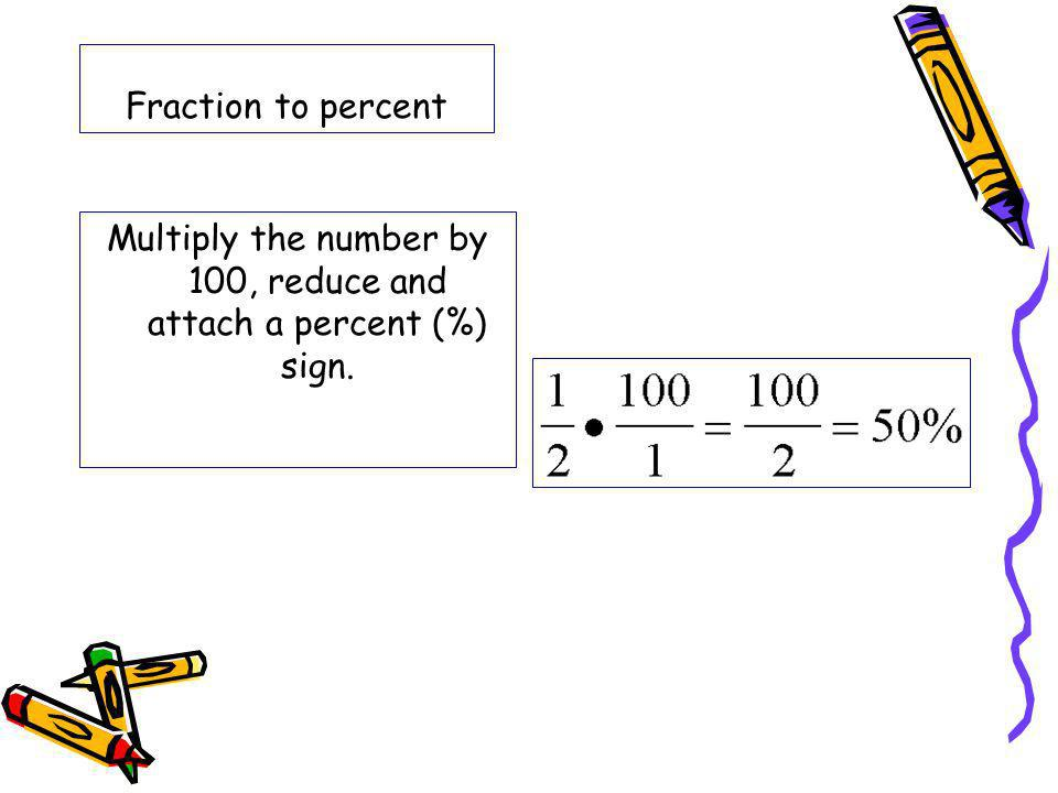 Multiply the number by 100, reduce and attach a percent (%) sign.