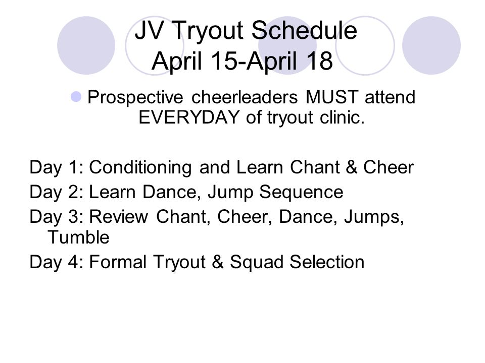 JV Tryout Schedule April 15-April 18