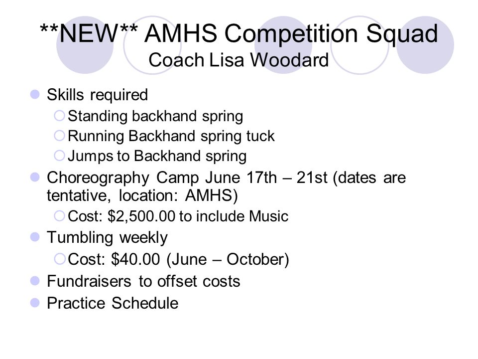 **NEW** AMHS Competition Squad Coach Lisa Woodard