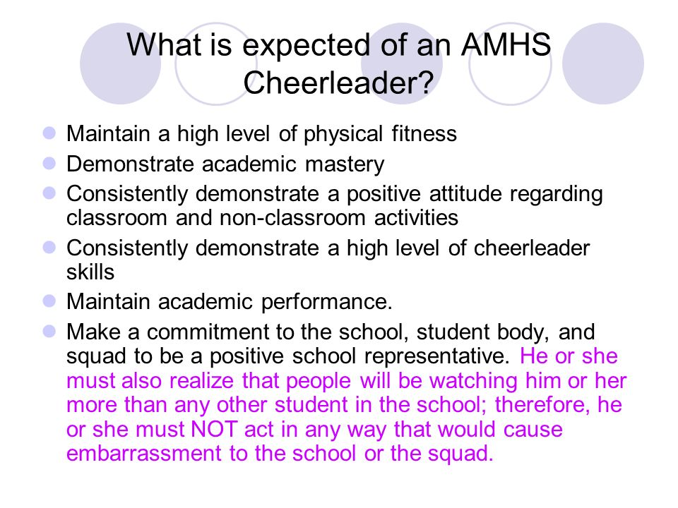 What is expected of an AMHS Cheerleader