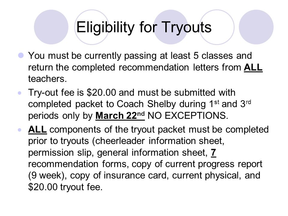 Eligibility for Tryouts