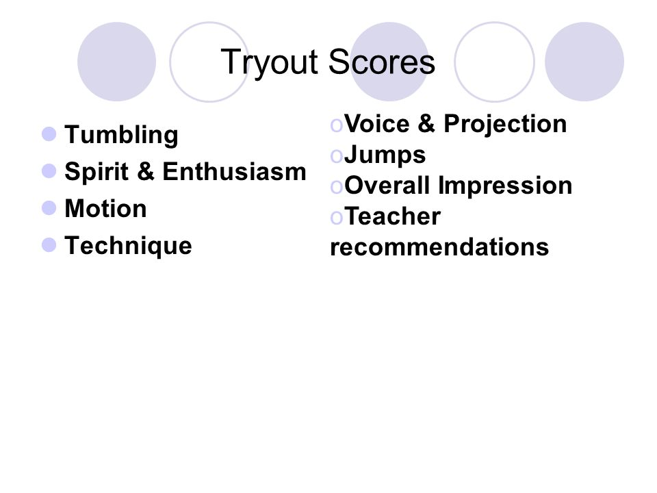 Tryout Scores Voice & Projection Tumbling Jumps Spirit & Enthusiasm