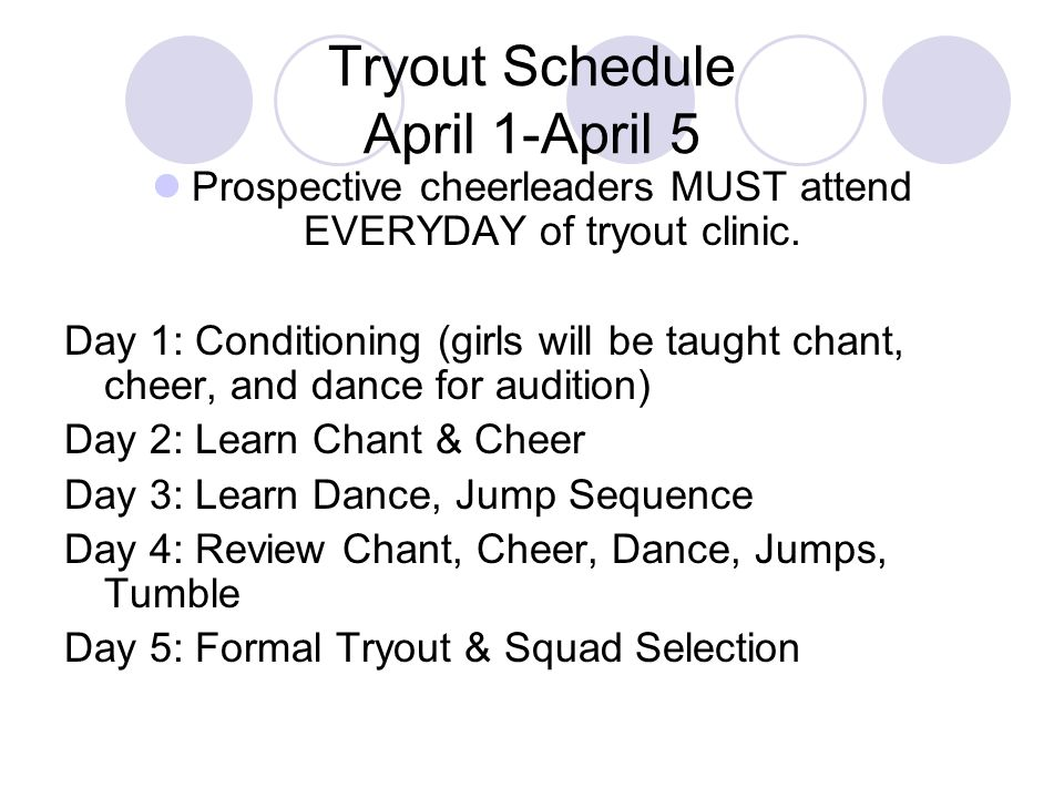 Tryout Schedule April 1-April 5