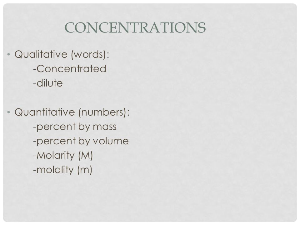 Concentrations Qualitative (words): -Concentrated -dilute