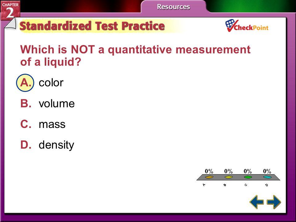 A B C D Which is NOT a quantitative measurement of a liquid A. color