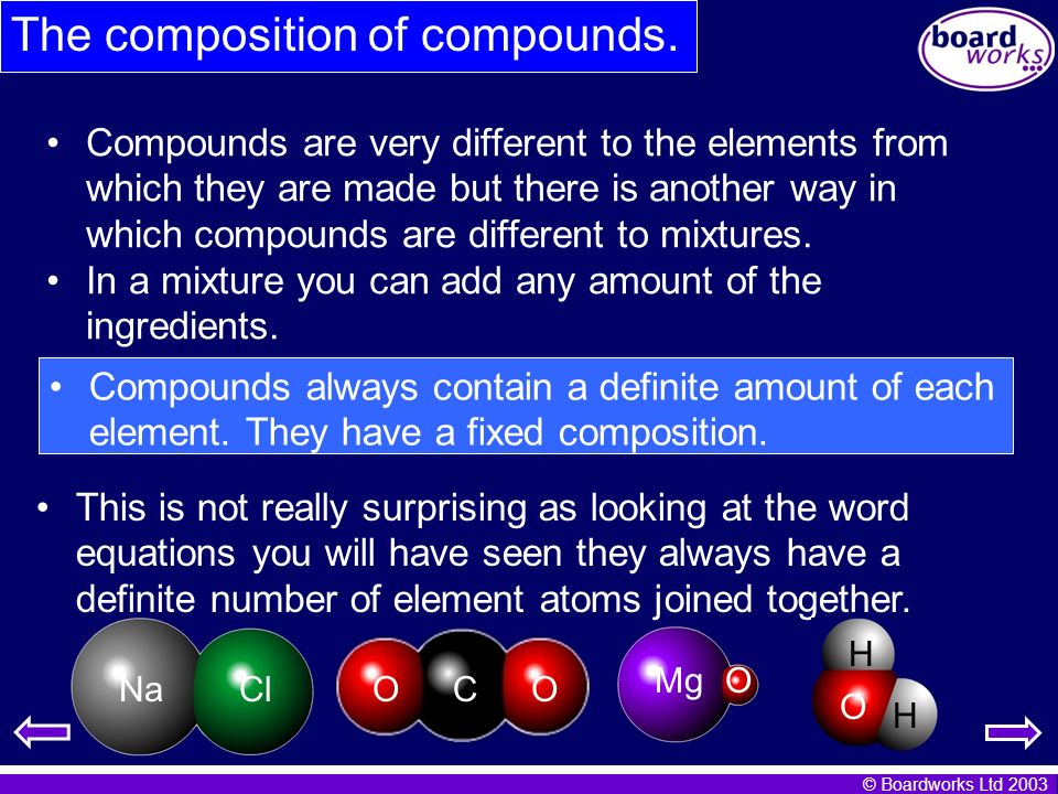 The composition of compounds.