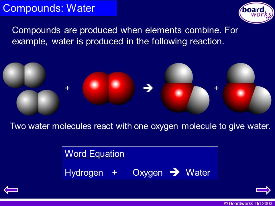 Compounds: Water Compounds are produced when elements combine. For example, water is produced in the following reaction.