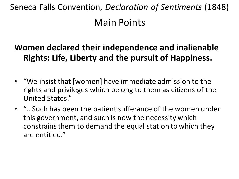 Seneca Falls Convention, Declaration of Sentiments (1848)