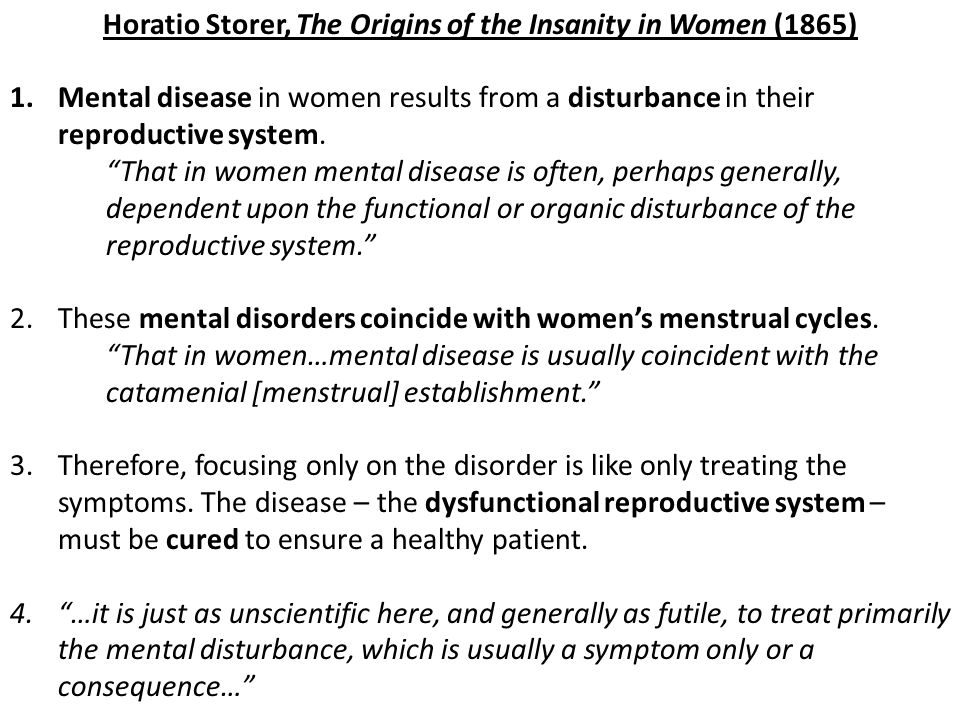 Horatio Storer, The Origins of the Insanity in Women (1865)