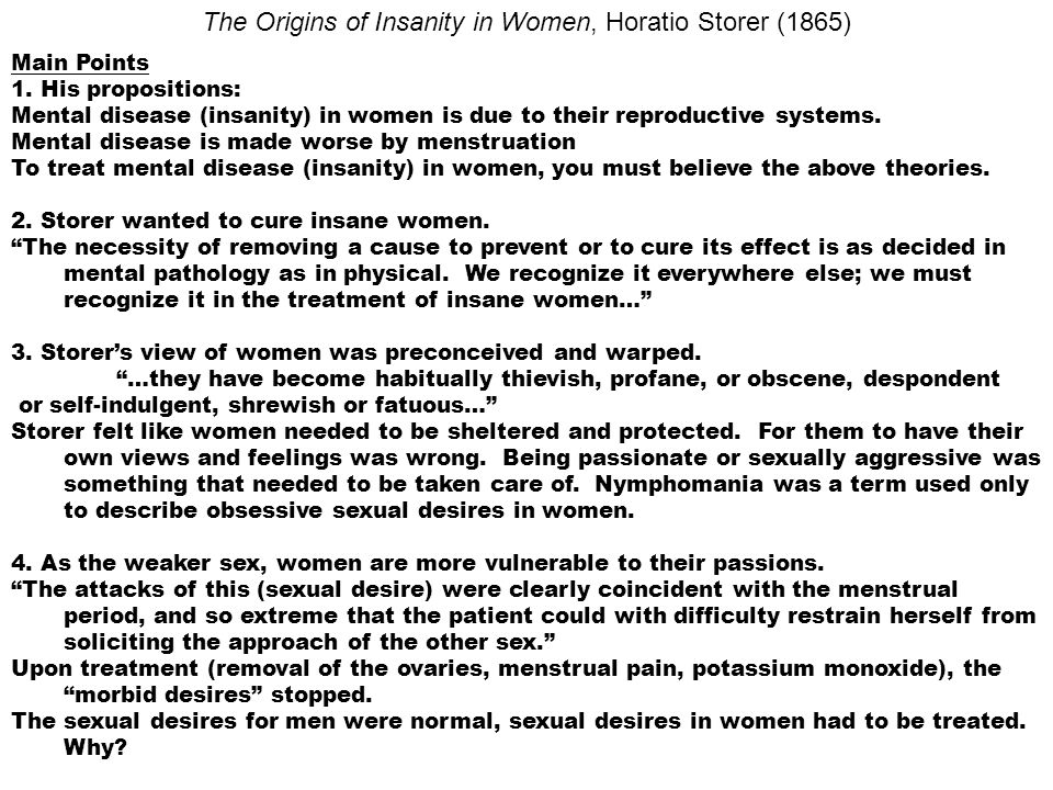 The Origins of Insanity in Women, Horatio Storer (1865)