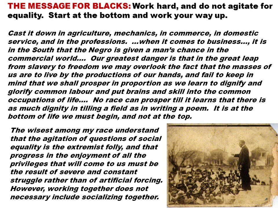 THE MESSAGE FOR BLACKS: Work hard, and do not agitate for equality